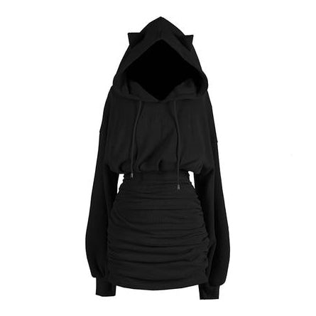 Gothic Streetwear Cat Ears Puffed Long Sleeve Hoodie Dress