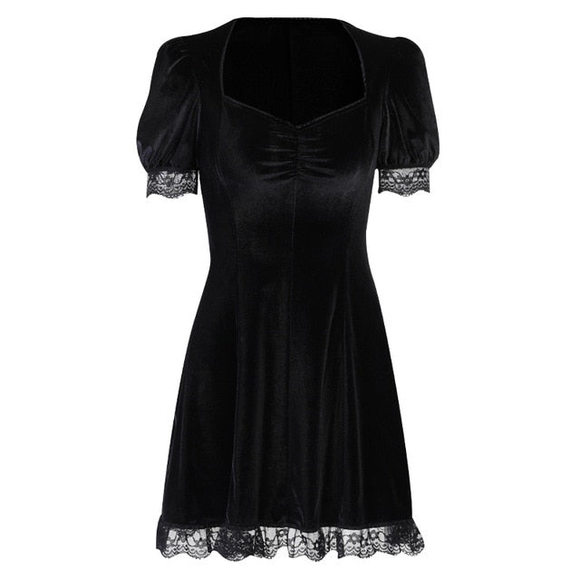 Gothic Vintage Lace Short Puffed Sleeves Mini Dress