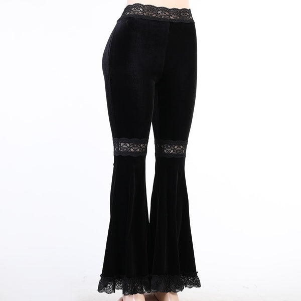 Gothic High Waist Lace Patchwork Flared Pants