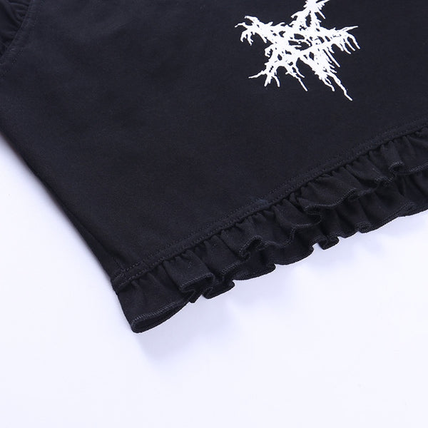 Gothic Pentagram Print Crop Top