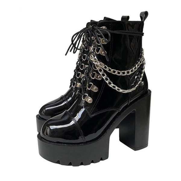 Gothic Patent Leather Lace Up Double Chain Platform Boots