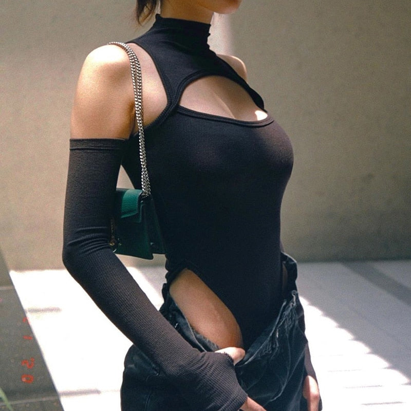 Gothic Cyberpunk Cold Shoulder Hollow Out Bodysuit Top