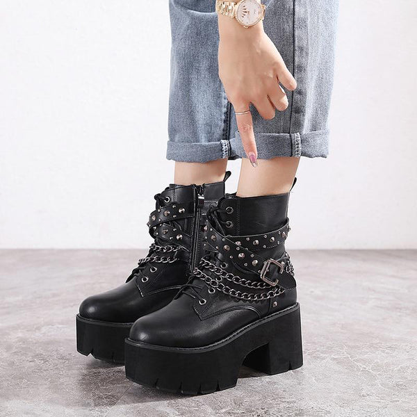 Gothic Rivets Chains Lace Up Platform Boots
