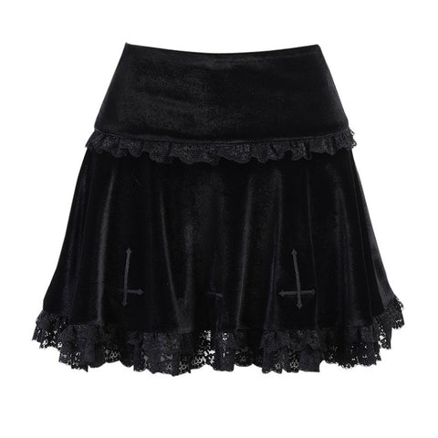 Gothic Cross Vintage Lace Trim Mini Skirt