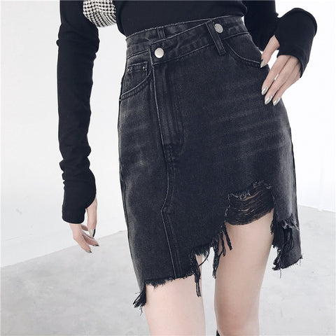 Gothic Grunge Distressed High Waist Denim Skirt