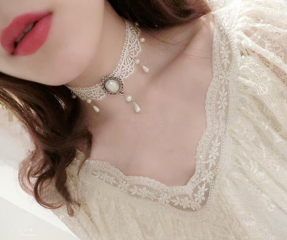 White Lace Gothic Victorian Choker Necklace