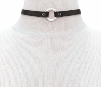 O-Ring Black Leather Collar Choker Necklace