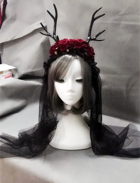 Gothic Red Roses Antlers Horns Headdress