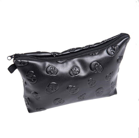 Gothic Skull Faux Leather Make Up Cosmetic Organizer Case