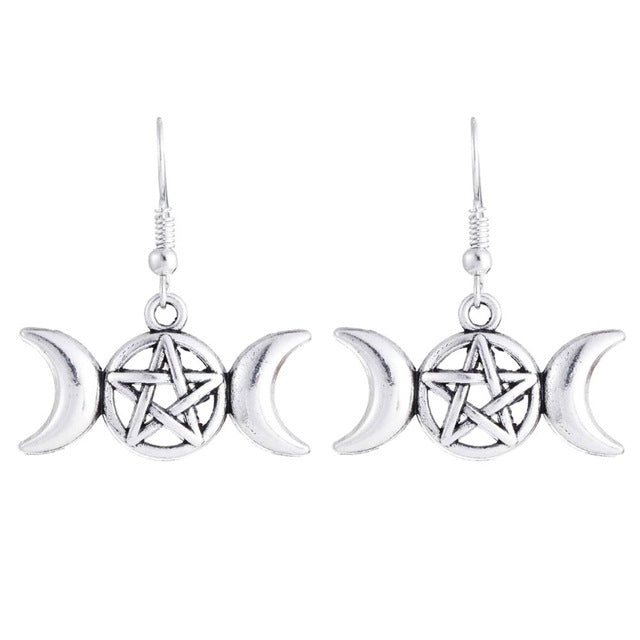 Gothic Wiccan Pentagram Triple Moon Goddess Earrings 1 Pair