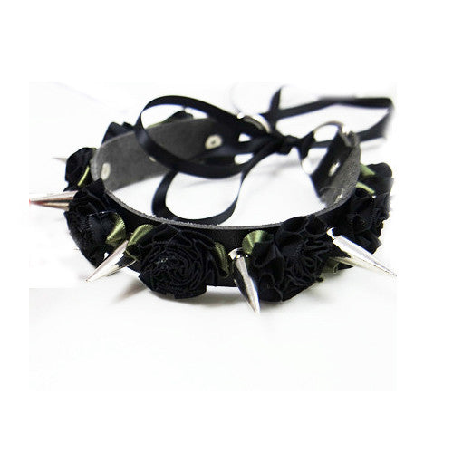 Gothic Punk Lolita Harajuku Flower Spikes Leather Collar Choker Necklace