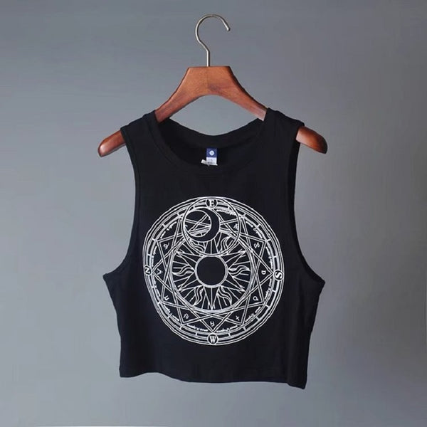 Gothic Wiccan Moon Sun Print Tank Top