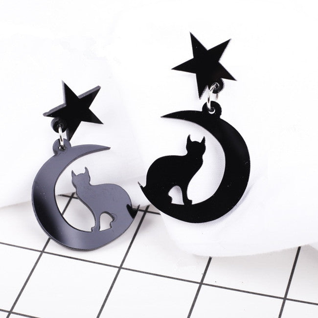 Gothic Luna Sailor Moon Star Cat Black Earrings