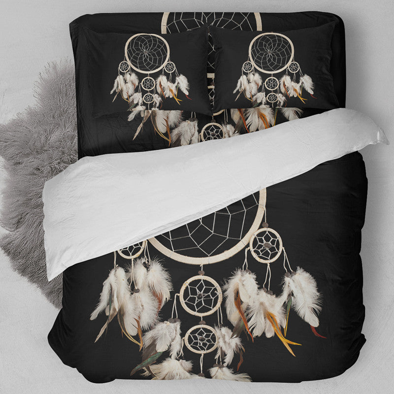 Gothic Bohemian Dream Catcher Black Bedding Set