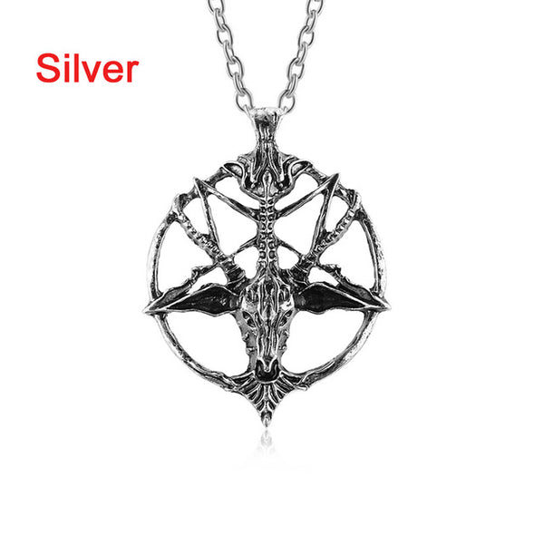 BAPHOMET Gothic Occult Goat Skull Pendant Necklace