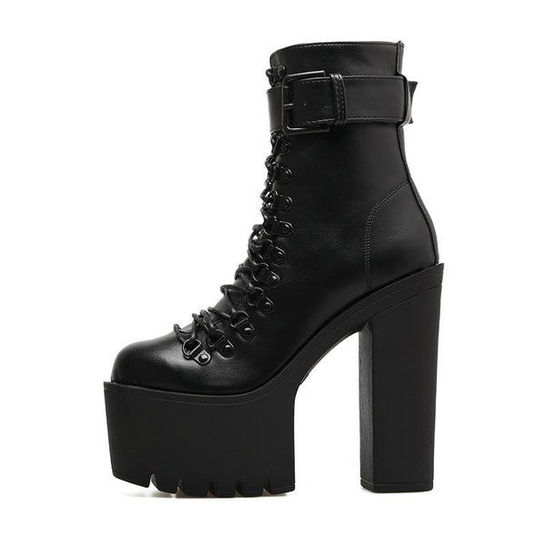 Gothic Wiccan Harajuku Lace Up Platform Ankle Boots