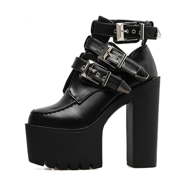 Gothic Buckle Leather Ankle Platform Boots