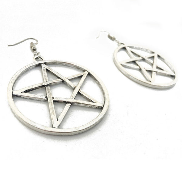 Gothic Wiccan Large Pentacle Pentagram Earrings