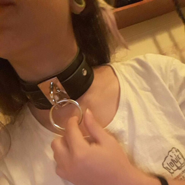 Goth Punk O Ring Metal Leather Oversized Choker Necklace