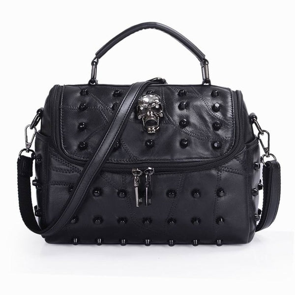Gothic Skull Studded Rivets Messenger Bag