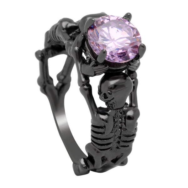Gothic Stone Skeleton Skull Black Plated Ring