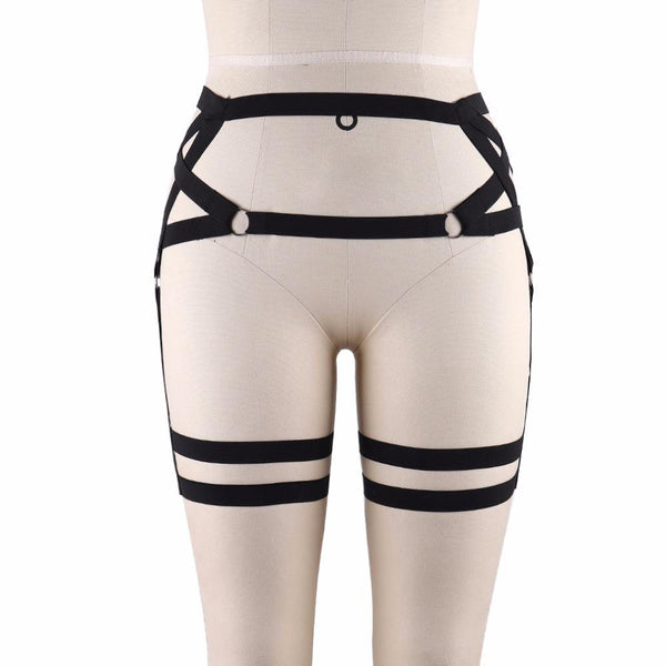 Gothic Pentagram Fetish Wear Thigh Leg Harness