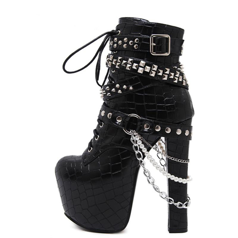 Gothic Metal Rivets Chains Womens Biker Boots