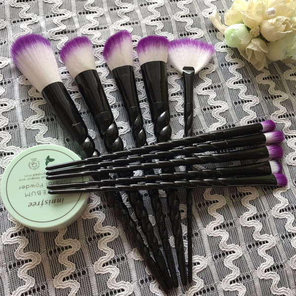 10-pc Set Gothic Black Violet Spiral Handle Makeup Brushes