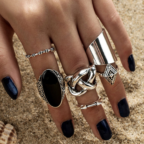 Gothic Bohemian 5 pcs Ring Set