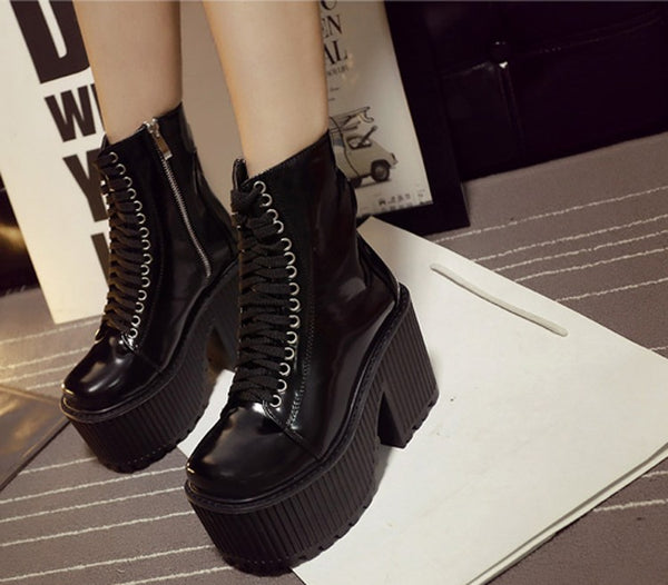 Gothic Punk Lace Up Platform Boots