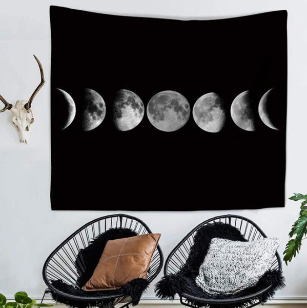 Gothic Wiccan Moon Phases Wall Tapestry