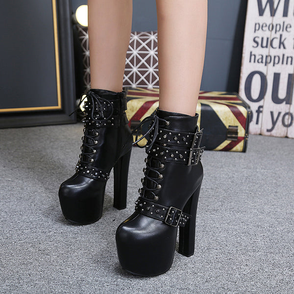 Gothic Studded Straps Sexy Platform Boots