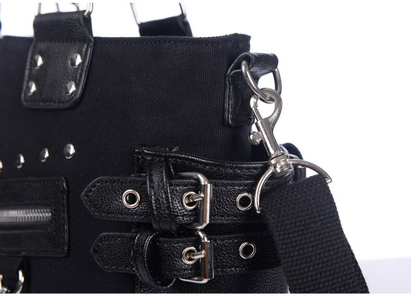 Gothic Rock Studded Chain Zipper Tote Bag