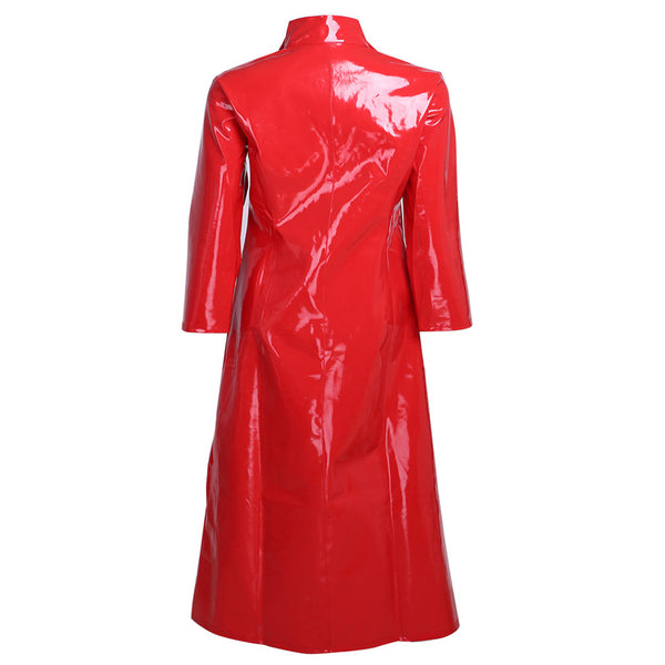 Gothic Clubwear PVC Leather Long Coat