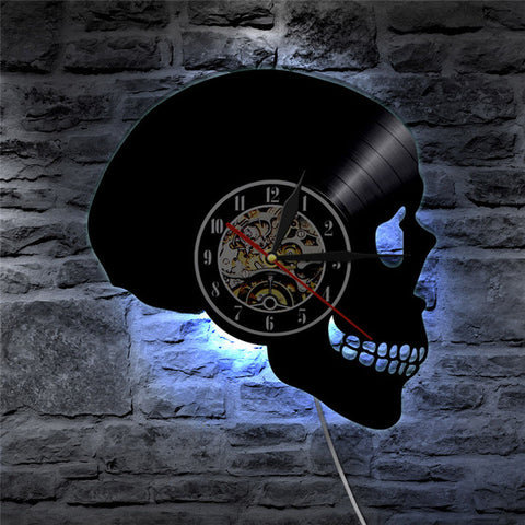 Gothic Skull Vinyl Record Wall Clock with LED Light