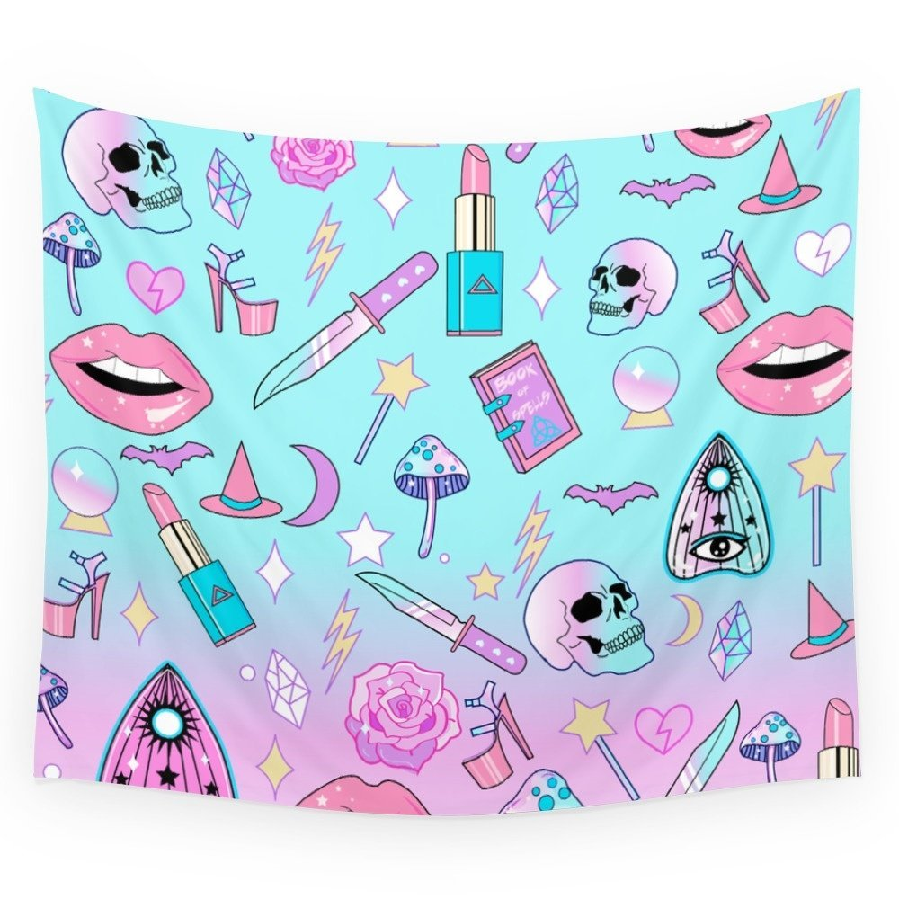Pastel Goth Dark Kawaii Witch Skull Graphics Wall Tapestry