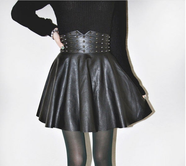 Gothic Studded Rivets High Waisted Skirt