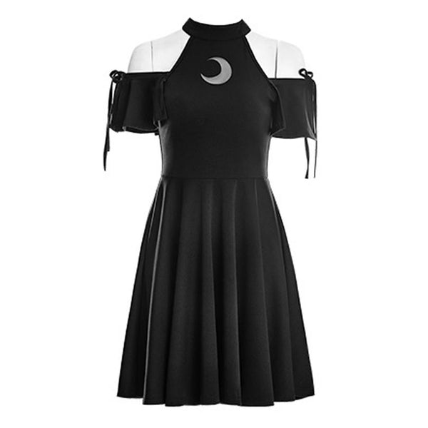 Gothic Wiccan Open Shoulder Moon Dress
