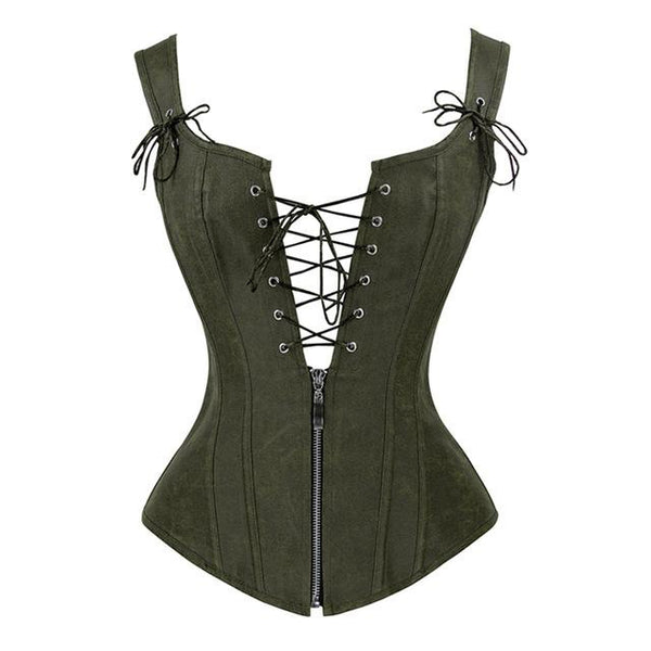 Gothic Victorian Steampunk Faux Leather Lace Up Vest Corset Top