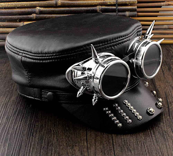 Gothic Steampunk Spiked Goggles Hat