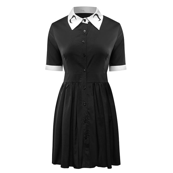 Gothic Wiccan Moon Collar Print Vintage Dress