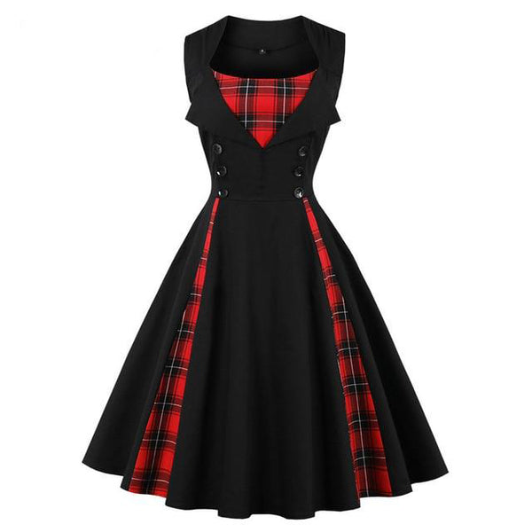 Gothic Vintage Pinup Girl Plaid Dress