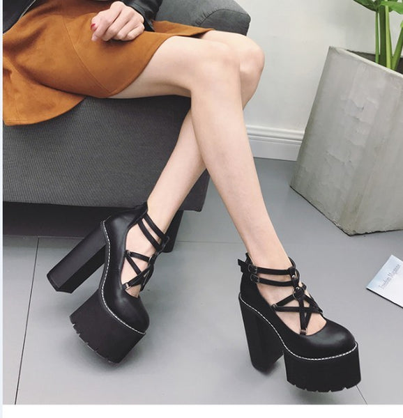 Gothic Pentagram Strap Pumps Platform Shoes