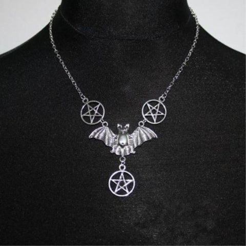 Gothic Bat Pentagram Necklace