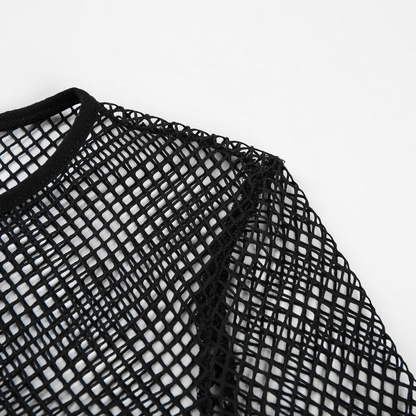 Gothic Mesh Fishnet Long Sleeves Crop Top