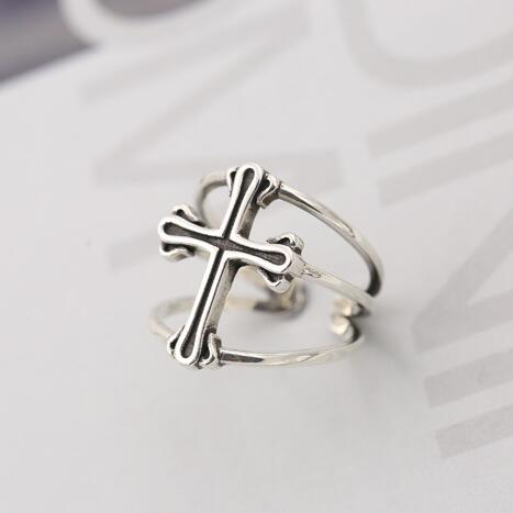 Gothic Punk Sterling Silver Cross Adjustable Ring