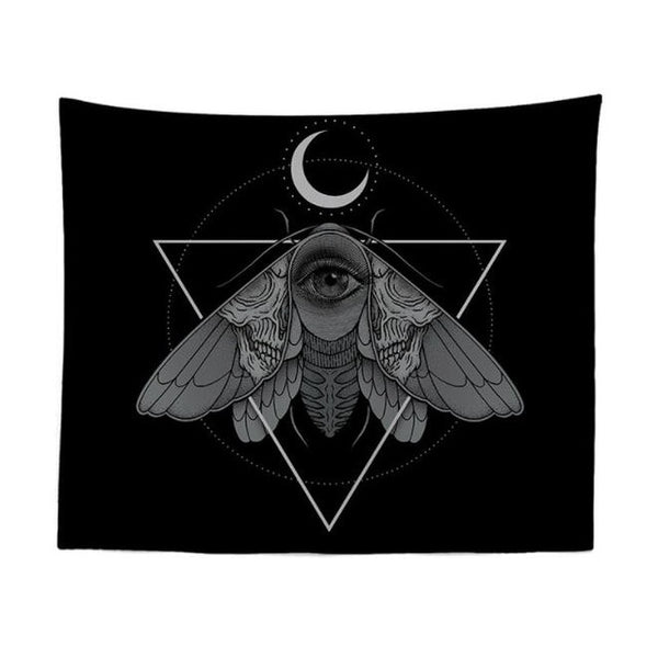 Gothic Moon and Moth Wall Tapestry
