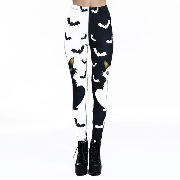 Gothic Halloween Cat And Bats Print Leggings