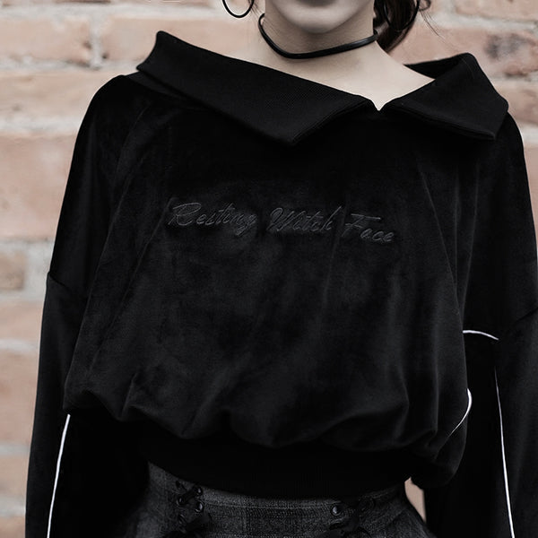 RESTING WITCH FACE Gothic Embroidery Velvet Sweatshirt