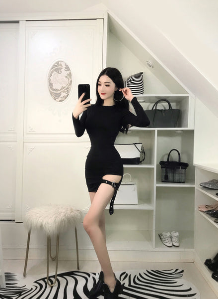 Sexy Gothic Asymmetrical Bodycon Long Sleeve Mini Dress